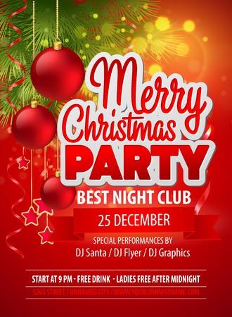 Ilustración de Christmas party flyer - Imagen libre de derechos