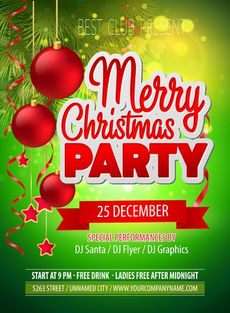 Illustration for Christmas party flyer. Vector template  EPS 10 - Royalty Free Image
