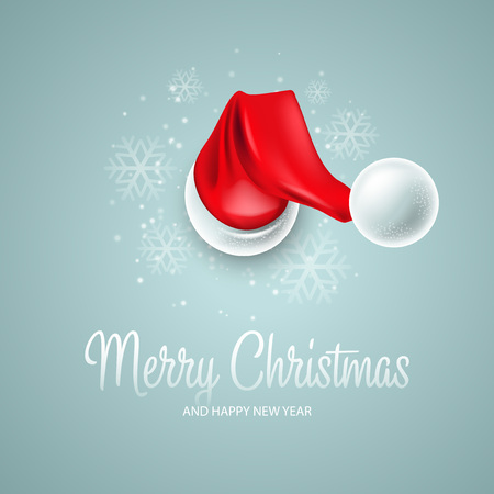 Illustration for Christmas card with Santa Claus hat - Royalty Free Image