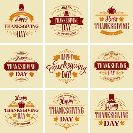 Ilustración de Typographic Thanksgiving Design Set. Vector illustration EPS 10 - Imagen libre de derechos