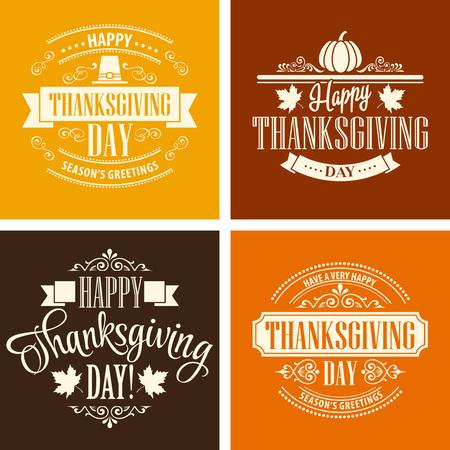 Ilustración de Typographic Thanksgiving Design Set. Vector illustration EPS 10 - Imagen libre de derechos