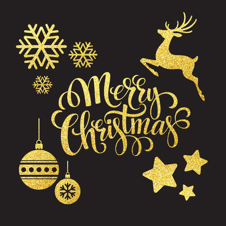 Ilustración de Christmas gold glitter  elements. Vector illustration EPS 10 - Imagen libre de derechos