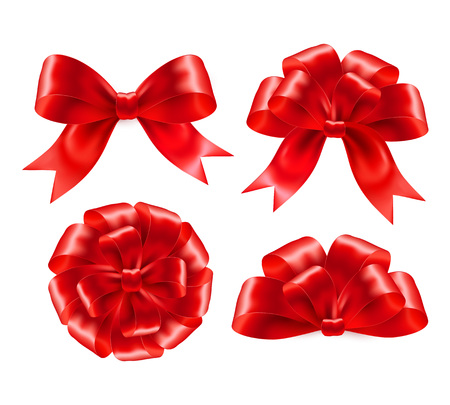 Illustration pour Set of red gift bows with ribbons. Vector illustration EPS 10 - image libre de droit
