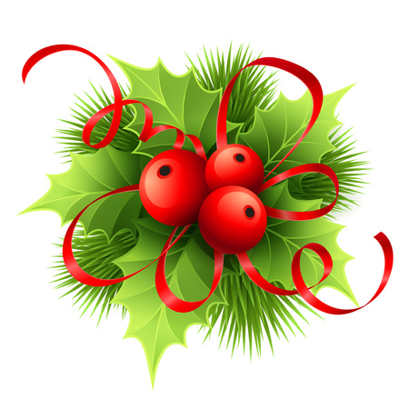 Ilustración de Vector Christmas holly with berries. Vector illustration EPS 10 - Imagen libre de derechos