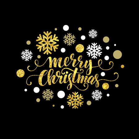 Illustration for Merry Christmas gold glittering lettering design. Vector illustration EPS 10 - Royalty Free Image
