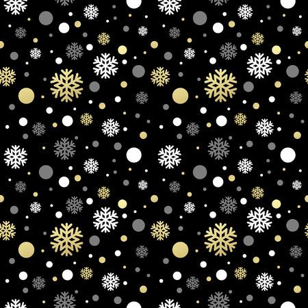 Illustration pour Seamless black christmas wallpaper with white and golden  snowflakes. Vector illustration EPS 10 - image libre de droit