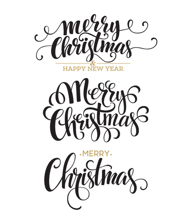 Illustrazione per Merry Christmas Lettering Design Set. Vector illustration  - Immagini Royalty Free