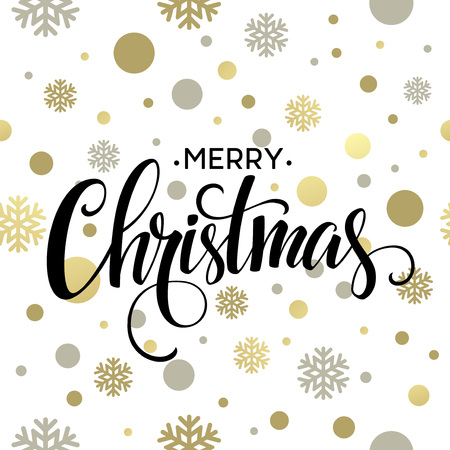 Illustration pour Merry Christmas gold glittering lettering design. Vector illustration  - image libre de droit