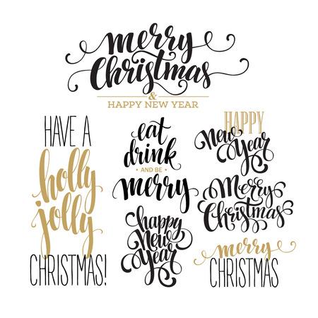 Illustration for Merry Christmas Lettering Design Set. Vector illustration  - Royalty Free Image