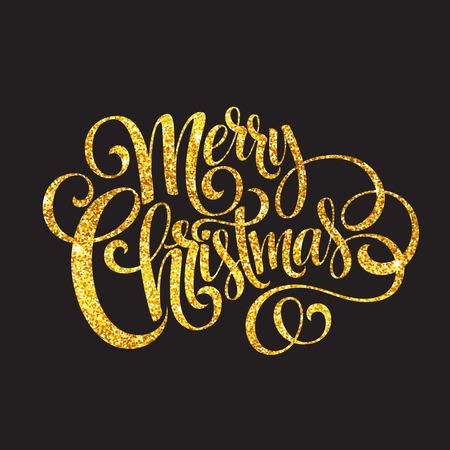 Ilustración de Merry Christmas gold glittering lettering design. - Imagen libre de derechos
