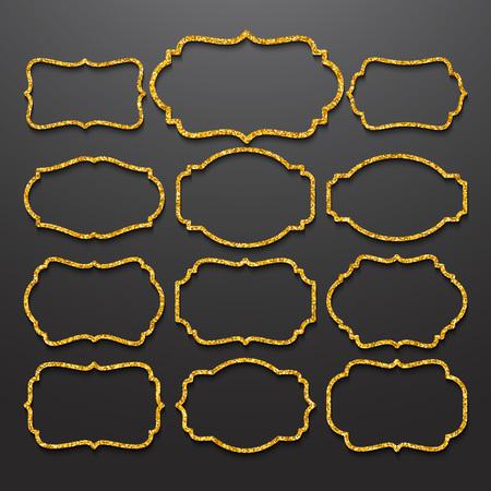 Illustration pour Golden frames vintage style. - image libre de droit