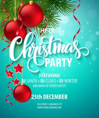 Illustration for Vector Christmas Party design template.  - Royalty Free Image