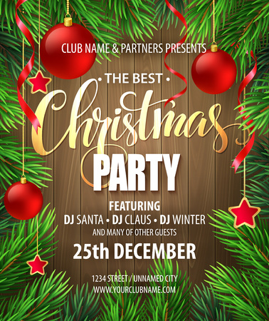 Illustration for Christmas Party poster design template. Vector illustration EPS10 - Royalty Free Image