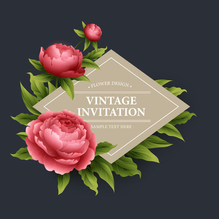 Ilustración de Vintage floral card. Used as a greeting card for background of Valentine  day, birthday, mother  day, wedding or any other design - Imagen libre de derechos