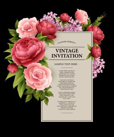 Ilustración de Vintage  Greeting Card with Blooming Flowers.  Vector Illustration  - Imagen libre de derechos