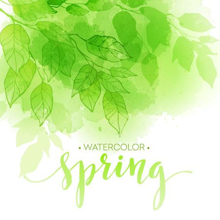 Ilustración de Watercolor background with green leaves. Vector illustration - Imagen libre de derechos