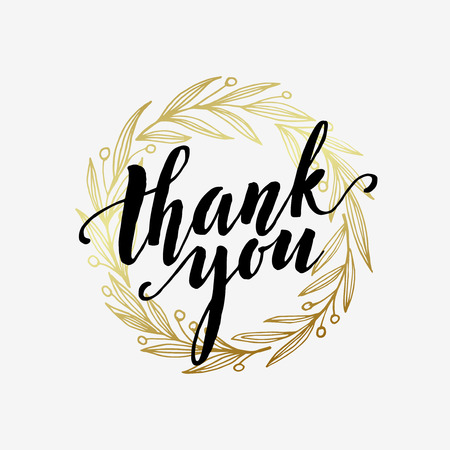 Illustration pour Thank you golden  lettering design.  - image libre de droit