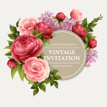 Illustration for Vintage  Greeting Card with Blooming Flowers.   - Royalty Free Image