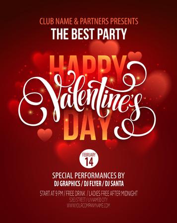 Ilustración de Valentines Day Party Poster Design.  - Imagen libre de derechos