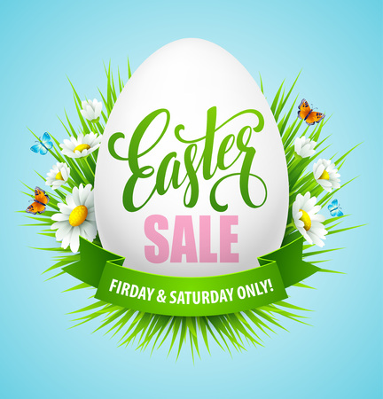 Illustration pour Easter sale background with eggs and spring flower. Vector illustration EPS10 - image libre de droit