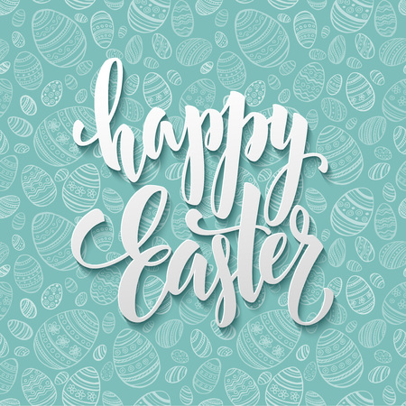 Illustration pour Happy Easter Egg lettering on seamless background. Vector illustration EPS10 - image libre de droit