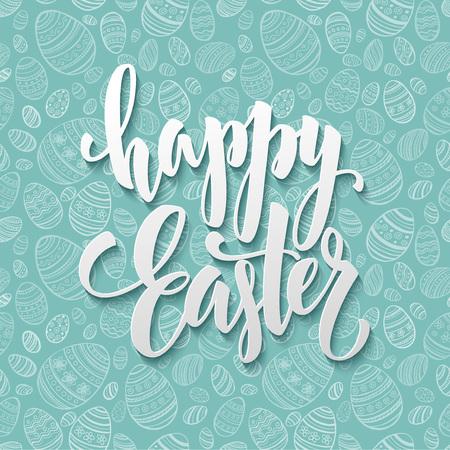 Happy Easter Egg lettering on seamless background. Vector illustration EPS10