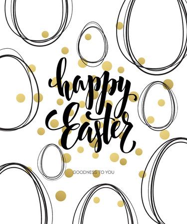 Happy Easter  Easter Golden Lettering Egg. Vector illustration EPS10