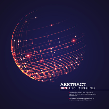 Illustration pour Point and curve constructed the sphere wireframe, technological sense abstract background. Vector illustration EPS10 - image libre de droit