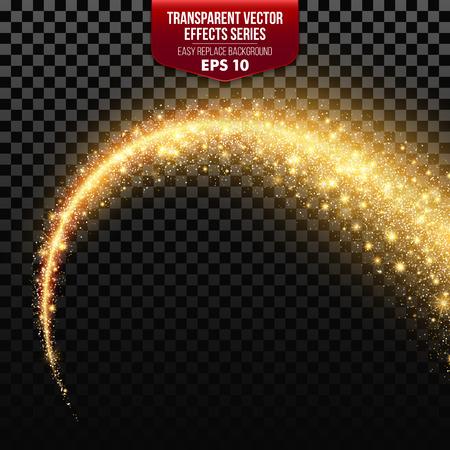 Ilustración de Transparent white star trail with particles. Vector effects EPS10 - Imagen libre de derechos