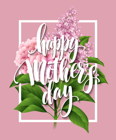Illustration pour Happy Mothers Day Lettering card. Greetimng card with flower. Vector illustration EPS 10 - image libre de droit