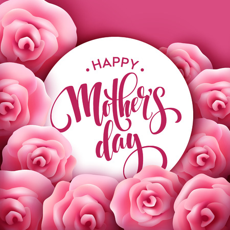 Illustration pour Happy Mothers Day lettering. Mothers day greeting card with Blooming Pink Rose Flowers. Vector illustration EPS10 - image libre de droit