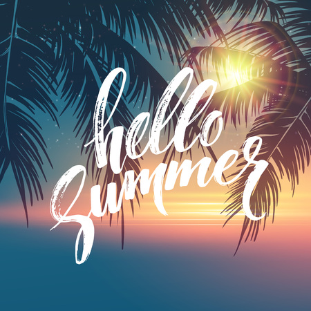 Illustration pour Hello summer  background. Tropical palm leaves pattern, handwriting lettering. Palm Tree branches. Tropic paradise backdrop. Vector illustration EPS10 - image libre de droit