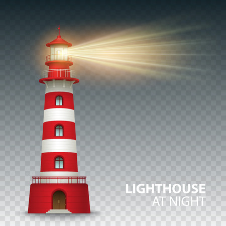 Ilustración de Realistic red lighthouse building isolated on white background. Vector illustration EPS10 - Imagen libre de derechos