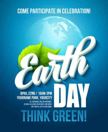 Illustration pour Earth Day poster. Vector illustration with the Earth day lettering, planets and green leaves. EPS10 - image libre de droit