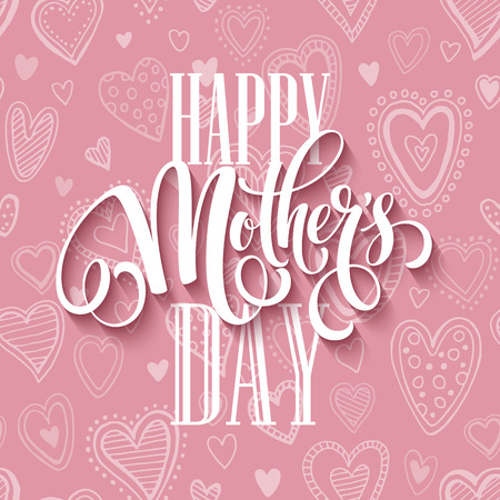 Illustration pour Mothers day lettering card with pink seamless background and handwritten text message. Vector illustration EPS10 - image libre de droit
