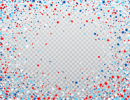 Illustration pour USA celebration confetti stars in national colors for American independence day isolated on background. Vector illustration - image libre de droit