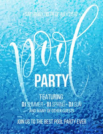 Ilustración de Pool party poster with blue water ripple and handwriting text. Vector illustration - Imagen libre de derechos