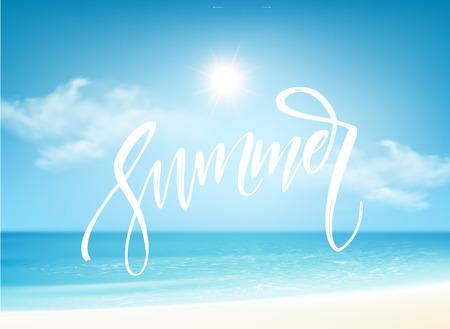 Ilustración de Summer Brush lettering composition on blue sea background. Vector illustration - Imagen libre de derechos