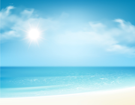 Illustration pour Beach and tropical sea with bright sun. Vector illustration - image libre de droit