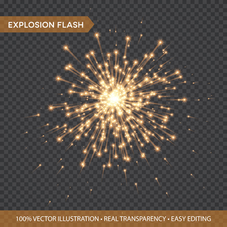 Ilustración de Golden glowing lights effects isolated on transparent background. Explosion Flash with rays and spotlight. Star burst with sparkles. Vector illustration - Imagen libre de derechos