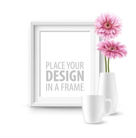 Illustration pour Mock up frame Wall of the interior background. Vector illustration - image libre de droit