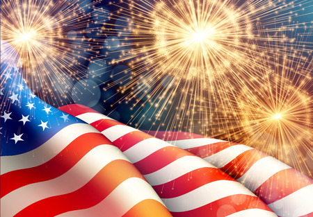 Ilustración de Fireworks background for 4th of July Independense Day with american flag. Vector illustration - Imagen libre de derechos