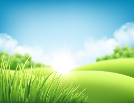 Ilustración de Summer nature sunrise background, a landscape with green hills and meadows, blue sky and clouds. Vector illustration - Imagen libre de derechos