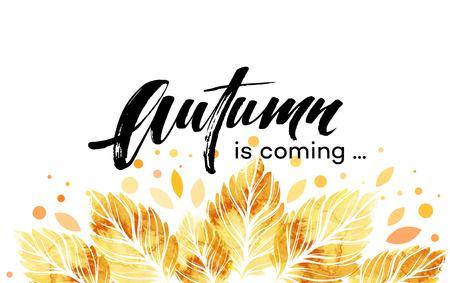 Ilustración de Watercolor painted autumn leaves banner. Fall background design. Vector illustration - Imagen libre de derechos