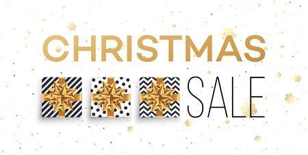 Ilustración de Christmas sale background with gifts boxes with gold bow. Template for postcard, booklet, leaflets, poster. Vector illustration - Imagen libre de derechos