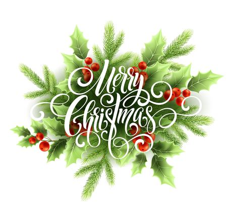 Illustration pour Merry Christmas handwriting script lettering. Christmas greeting card with holly. Vector illustration - image libre de droit