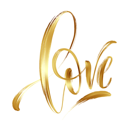 Illustration for Love gold hand drawn brush calligraphy. Vector illustration - Royalty Free Image