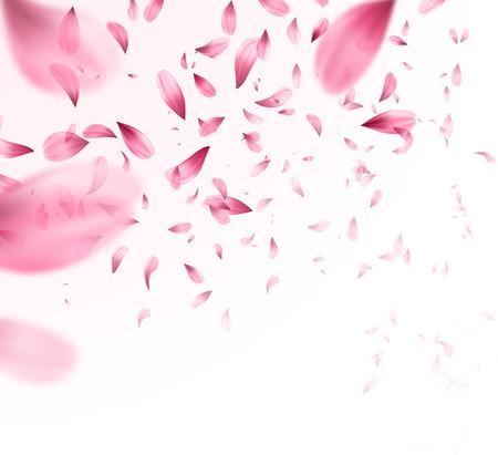 Ilustración de Pink sakura falling petals background. Vector illustration - Imagen libre de derechos