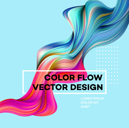 Illustrazione per Modern colorful flow poster. Wave Liquid shape in blue color background. Art design for your design project. Vector illustration. - Immagini Royalty Free