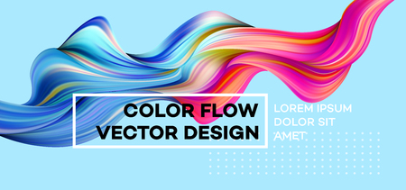 Ilustración de Modern colorful flow poster. Wave Liquid shape in blue color background. Art design for your design project. Vector illustration. - Imagen libre de derechos